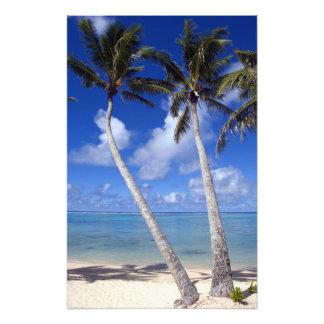 Palm lined beach Cook Islands Photo Art
