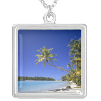 Palm lined beach Cook Islands Silver Plated Necklace