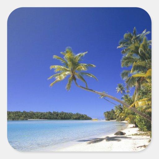 Palm lined beach Cook Islands Sticker