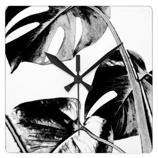 Palm monstera tropical leaves modern black white square wall clock