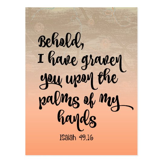 Palm of His Hands Comforting Bible Verse Postcard