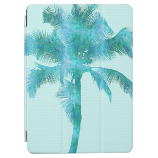 Palm Silhouette Blue Watercolor Background Texture iPad Air Cover