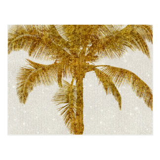 Palm Silhouette Gold Faux Glitter Tropical Design Postcard