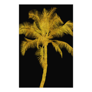 Palm Silhouette Gold Faux Glitter Tropical Design Stationery