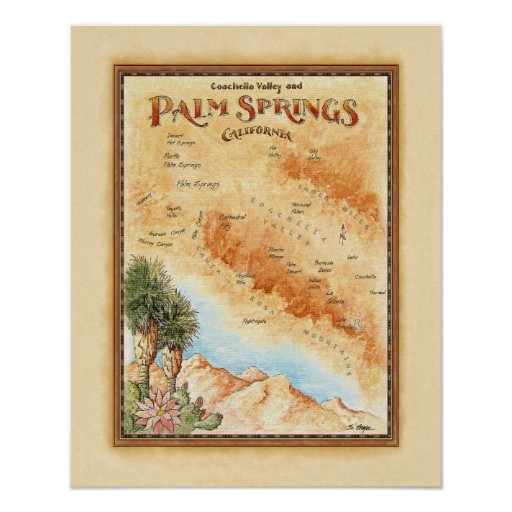Palm Springs Ca Map Poster