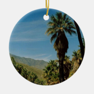 Palm Springs View Round Ceramic Decoration