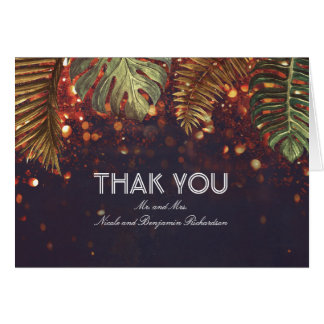 Palm String Lights Beach Wedding Thank You Card