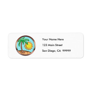 Palm, Sun and Island Return Address Label