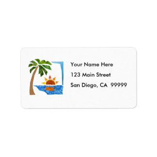 Palm, Sun & Sea Address Label