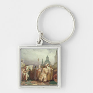 Palm Sunday Procession Silver-Colored Square Key Ring