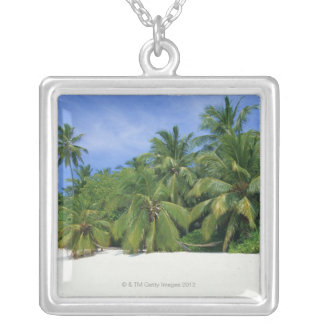 Palm Tree 3 Silver Plated Necklace