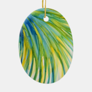 Palm Tree Abstract Watercolor Ceramic Oval Decoration