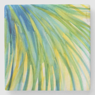 Palm Tree Abstract Watercolor Stone Beverage Coaster