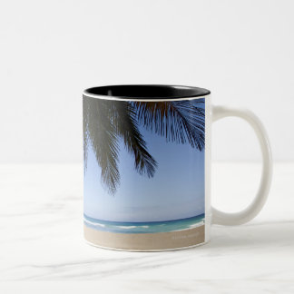 Palm tree along Caribbean Sea. Two-Tone Coffee Mug