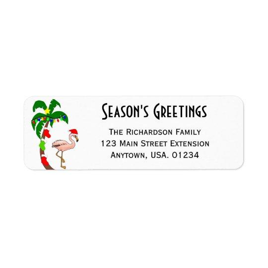 Palm Tree and FLamingo Tropical Christmas