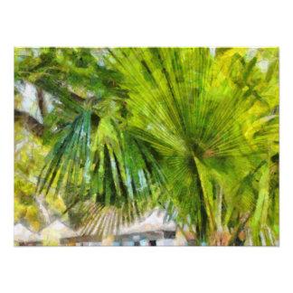 Palm tree and houses photo print