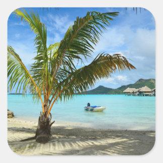 Palm tree and overwater resort sticker