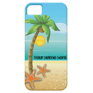 Palm tree and starfish tropical scenery iPhone 5 case