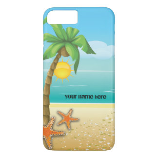 Palm tree and starfish tropical scenery iPhone 7 plus case