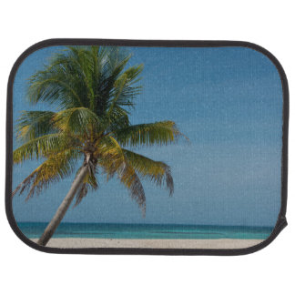 Palm tree and white sand beach  2 car mat