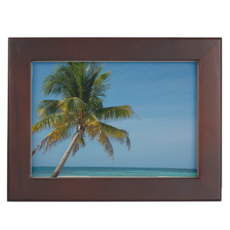 Palm tree and white sand beach  2 keepsake box