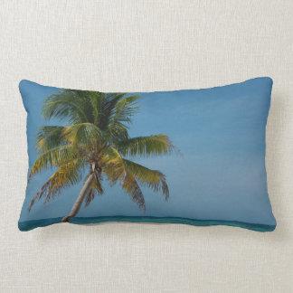 Palm tree and white sand beach  2 lumbar pillow