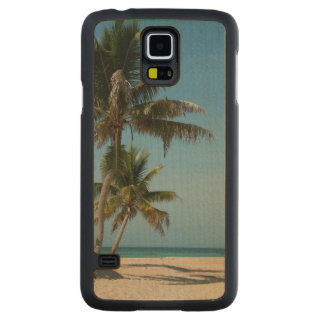 Palm tree and white sand beach carved maple galaxy s5 case
