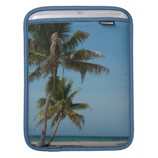 Palm tree and white sand beach iPad sleeve
