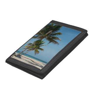 Palm tree and white sand beach tri-fold wallets
