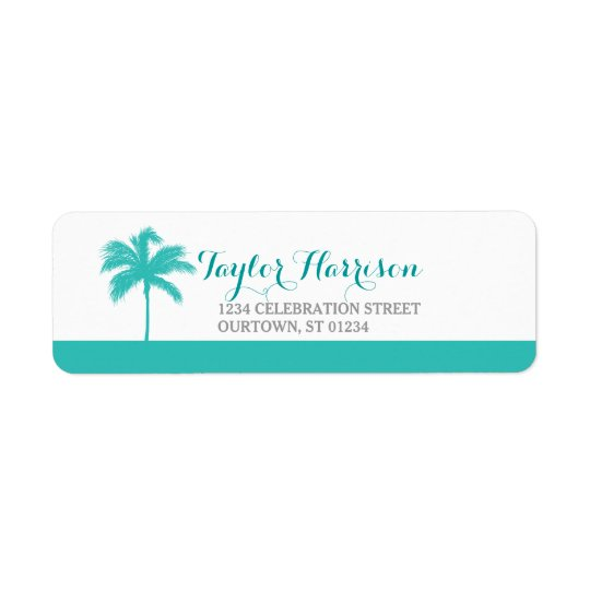 Palm Tree Aqua Grey Address Label