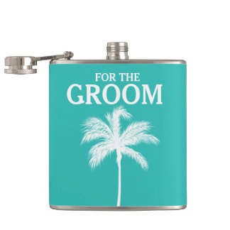 Palm Tree Aqua Groom Flask