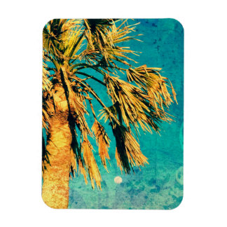 Palm Tree Art Turquoise Moon Rectangle Magnets