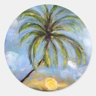 Palm Tree Artwork Classic Round Sticker