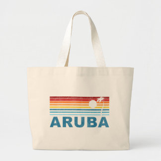 Palm Tree Aruba Large Tote Bag