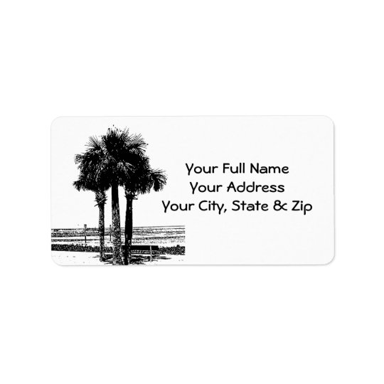 Palm Tree at Beach in black, white address labels