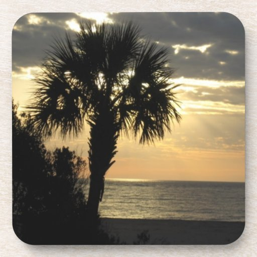 Palm Tree at Sunrise Cork Coasters