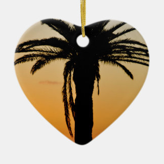 Palm tree at sunset ceramic heart decoration