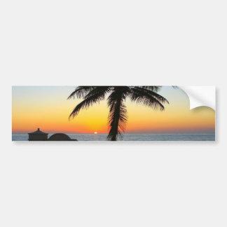 Palm Tree at Sunset on Beach Bumper Sticker