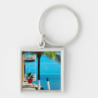 Palm Tree At The Front Yard Of A House By The Sea Key Ring