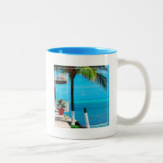 Palm Tree At The Front Yard Of A House By The Sea Two-Tone Coffee Mug