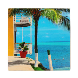 Palm Tree At The Front Yard Of A House By The Sea Wood Coaster