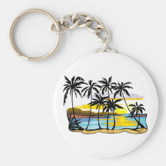 Palm Tree Background Key Ring