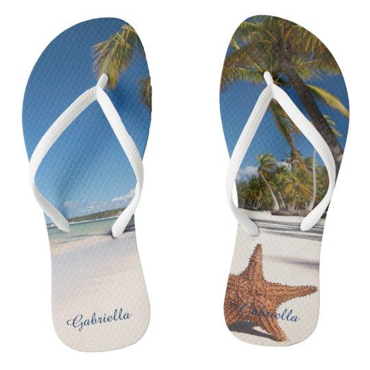 Palm Tree Beach Scene Personalised Flip Flops
