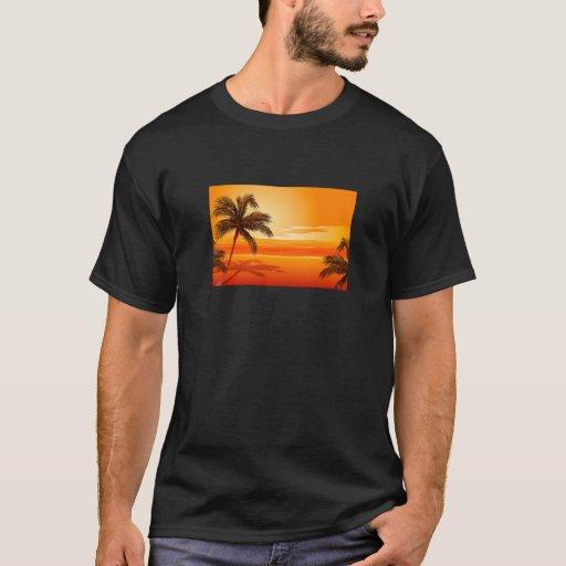 Palm Tree Beach Sunset T-Shirt