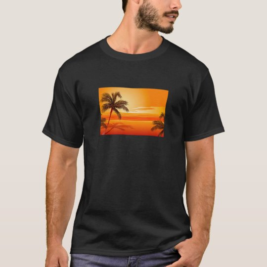 Palm Tree Beach Sunset T-Shirt