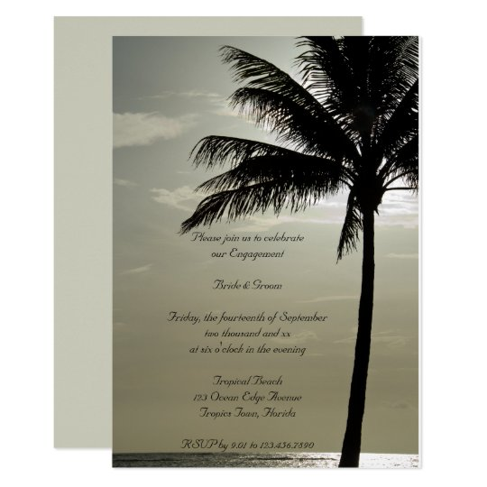 Palm Tree Beach Wedding Engagement Party Invite