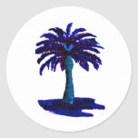 Palm Tree Blue The MUSEUM Zazzle Gifts Round Stickers