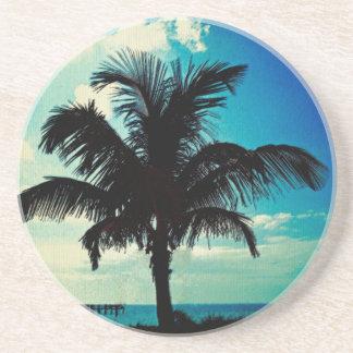 Palm Tree Blues Drink Coaster