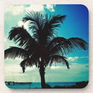 Palm Tree Blues Beverage Coaster
