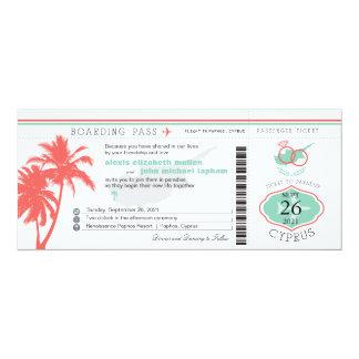 Palm Tree Boarding Pass to Cyprus Wedding 10 Cm X 24 Cm Invitation Card